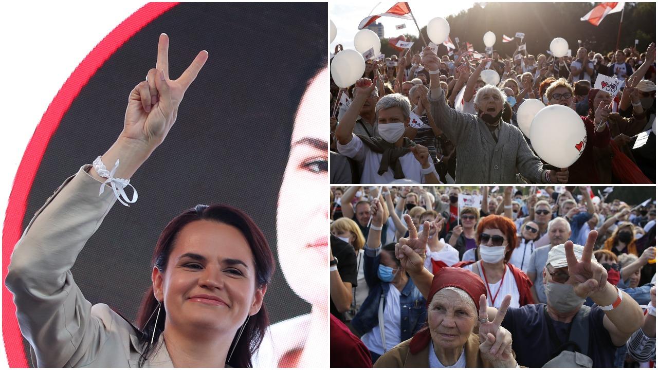 Artėjant prezidento rinkimams, opozicijos mitinge Baltarusijoje dalyvavo dešimtys tūkstančių žmonių