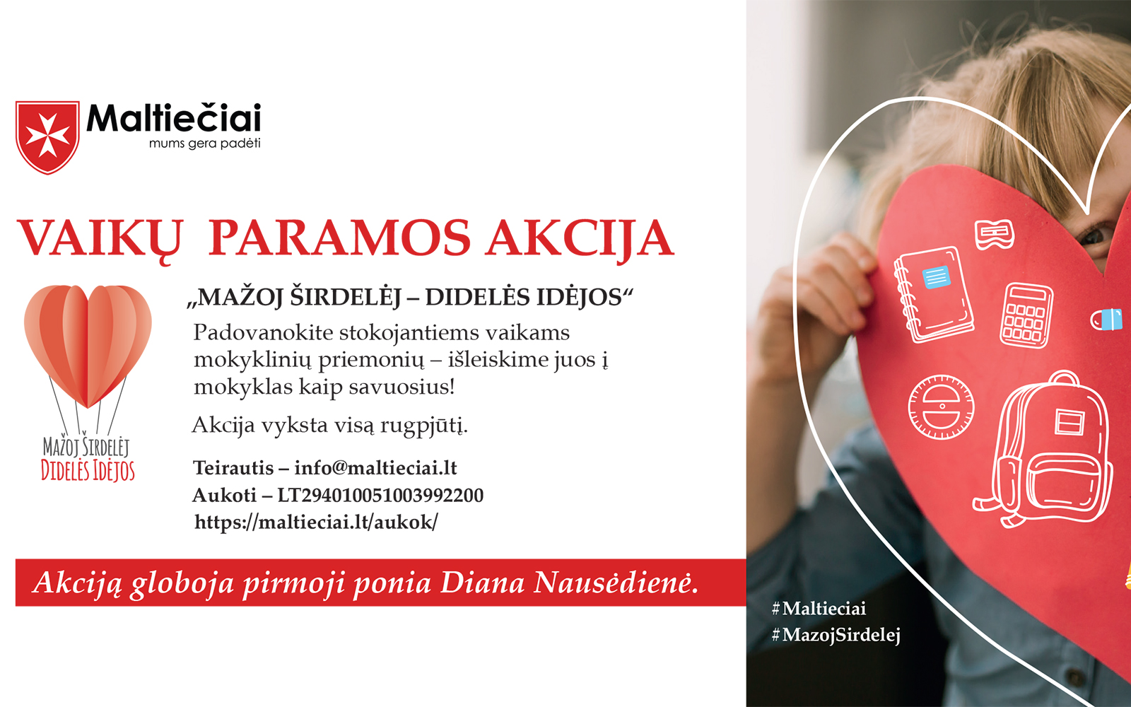 Pirmoji ponia Diana Nausėdienė kviečia prisijungti prie maltiečių vaikų paramos akcijos